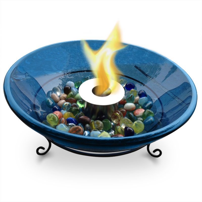 Cobalt Glass Firebowl W Fuel