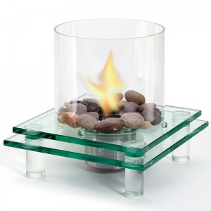 Modern Architectural Glass Fireplace w Fuel