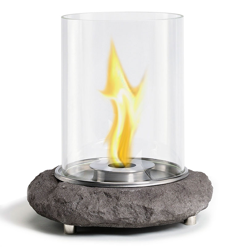 Faux Granite Glass Tabletop Fireplace